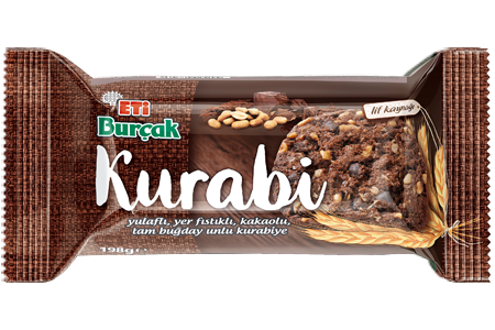 Eti Burçak Kurabi Whole Wheat Flour Cookie with Oatmeal, Peanuts and Cocoa